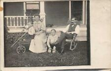 RPPC Family Photo Coaster Toy Wagon ca 1910s Vintage Real Photo Postcard