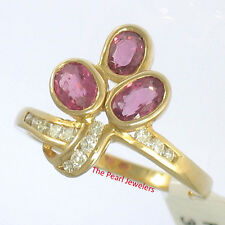 18k Solid Yellow Gold Genuine Diamonds & Oval Shaped Red Ruby Cocktail Ring TPJ