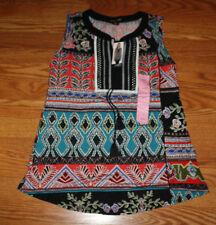 NWT Womens RXB Black Lead Plant Sleeveless Split Neck Tunic Shirt Blouse Sz XL