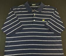 MASTERS August National Golf Shop Polo Golf Shirt Blue White Stripe Mens Large