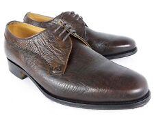 Loake Dark Brown Exotic Kudu Antelope Leather Derby Shoes UK 6 wide fit like 6.5