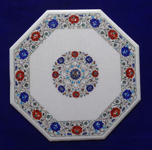 "30"" White Marble coffee Table Pietra dura semi precious stone Inlay Work"