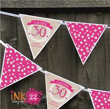 Personalised 30th, 40th, 50th Birthday Girl Party Decoration Banner Bunting Sign