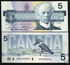 CANADA $5 DOLLARS P95 C 1986 KINGFISHER BIRD PARLIAMENT UNC CURRENCY MONEY NOTE