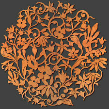 "FLOWER GARDEN Design 36"" Diam FLORAL WALL Medallion Laser Cut Wood MADE in USA"