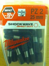 MILWAUKEE SHOCKWAVE IMPACT DRIVER PZ2 25MM SCREWDRIVER BITS 25 PACK TOP QUALITY