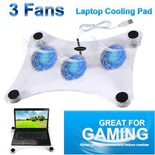New 3 Fans USB Cooler Cooling Pad Stand LED Light Radiator For PC Notebook