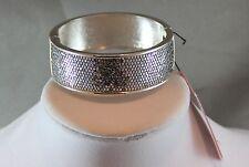Betsey Johnson Silver Tone Silver Glitter Hinged Bangle Bracelet NWT