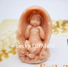 1pcs 3D Cradle Girl Baby (zx212) silicone Handmade Soap Molds Crafts DIY Moulds