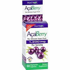 NATROL VITAMINS ACAI BERRY*1200mg*60 CAPS*VEGETARIAN*NEW*SEALED*FREE SHIP