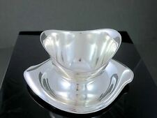"""Vintage 1847 ROGERS """"Flair"""" Silverplate GRAVY BOAT & FIXED UNDERPLATE"""