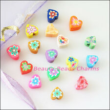 35Pcs Mixed Handmade Polymer Fimo Clay Heart Flat Spacer Beads Charms 6 mm
