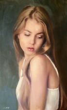 "NEW WILLIAM OXER ORIGINAL CANVAS  ""A Winter Romance"" blond woman girl PAINTING"