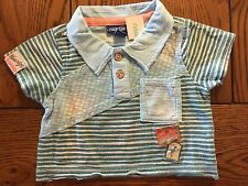 *NWT NAARTJIE* Boys Piece Wave Strip Dot Polo Shirt in Sword Size 3-6 Months