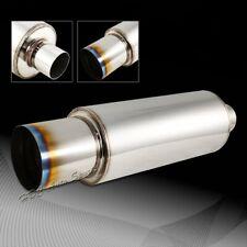 """4"""" N1 Style Burn Tip Stainless Steel Racing Resonator Exhaust Muffler 2.5"""" Inlet"""