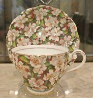 "Royal Standard ""Peach Tree"" Tea Cup and Saucer Chintz Bone China Floral Decor"