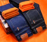 Winter Warm Fleece Men's Jeans Thick Stretch Denim Pants Straight Casual Outwear