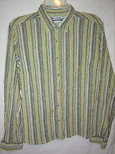"Columbia  greens w blue & white stripes crinkle textured l.s shirt  XL- 46"" EC"