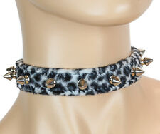 White Leopard Spike Collar Choker Punk Goth Rockabilly Necklace Thrash metal