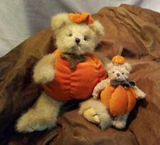 2 Bearington, Pumpkin Costumed Jointed Teddy Bears, The Bearington Collection