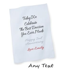 2nd wedding marriage anniversary personalised tea towel with any your text gift