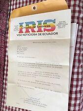 """QSL SW CARD - """"Radio IRIS Circuito De Emizoras"""", Ecuador.   1982"""