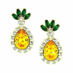 Kristin Perry Pineapple Drop Chandelier Earrings Made with Swarovski Crystals