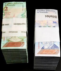 2018 Venezuela $2 & $20 Bolivares UNC 2 Bricks 2000 Pcs Total New SKU035