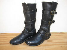 Womens Fiorentini + Baker Eternity 3 Buckle Boots Sz 38/8 Black Leather Italy