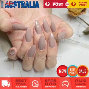 24pc Nude Stiletto Ballerina Fake Nail Tip Glue On False Press On Artificial AU