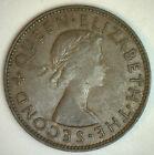 New Zealand 1954 1 Penny Bronze Large Size Coin KM#24.1 XF Tui Bird #R