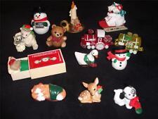 13-Vintage Hallmark Christmas Merry Miniature Mouse Cat Bear Snowman Lot Train