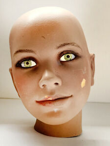 VINTAGE Child MANNEQUIN HEAD GLASS EYES THAT MOVE + GLOW Mid-Century Modern