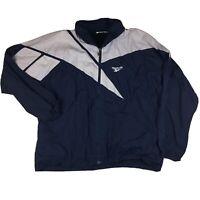 90s Reebok Big Logo Windbreaker Track Jacket Full Zip Up Blue/White Sz XL