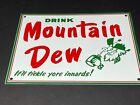 VINTAGE DRINK MOUNTAIN DEW ADVERTISING HILLBILLY PORCELAIN SODA POP GAS OIL SIGN