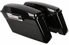 Black Hard Saddlebags Trunk for Harley Touring FLT FLH Dyna w/ Latch Kit & Lid