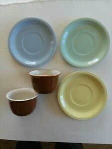 Coors Pottery Mello cup plates, 3 pcs & 2 Thermo custard cups # 324