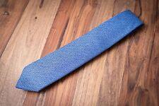 Drake's London Blue Herringbone Pure Cashmere Tie Handmade In England BNWOT