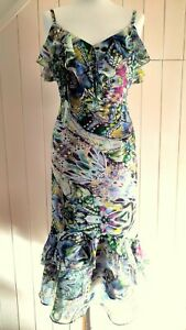 PER UNA ABSTRACT BUTTERFLY CHIFFON FRILL NECK STRAPPY DRESS TIERED HEM 12 40 NEW