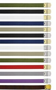 CHOOSE 12 DIFFERENT Cotton Military Web Belt with Brass Colored Buckles