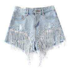 Sequin Beaded Women Denim Shorts Rhinestone Tassel Hot Pants Trousers Fringe