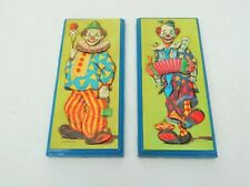 set 2 frame vintage rare clowns pictures 3d paper art with resin