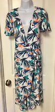 Time And Tru Brand Tropical Floral Semi-Fitted Wrap Dress Size Large