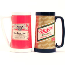 Vintage MILLER High Life / BUDWEISER THERMO SERV Insulated Beer Mugs