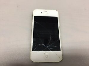 APPLE IPHONE 4S A1387 WHITE (UNKNOWN CARRIER)(LOCKED) (CRACKED SCREEN)