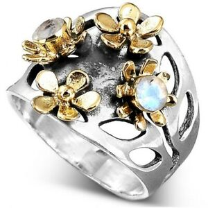 Sterling Silver Handmade Moonstone Uni sexual Spinner Ring For Gift NK52