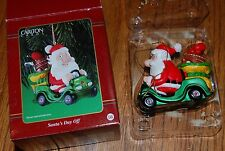 "Santa's Day Off 3"" Christmas Ornament Carlton Cards Golf Cart Clubs w/ Box"