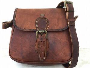 7X9 inch Real Genuine Brown Leather Vintage ladies Shoulder Hippie Tote Bag