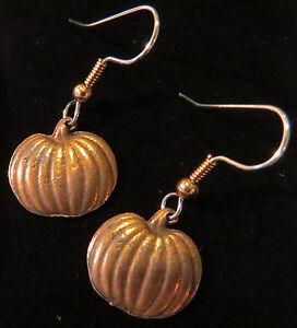 Pumpkin Earrings Copper Autumn Fall Thanksgiving