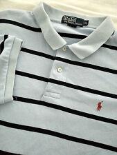 RALPH LAUREN Men's Short Sleeve Blue Striped Polo Shirt Size XL EUC Red Pony